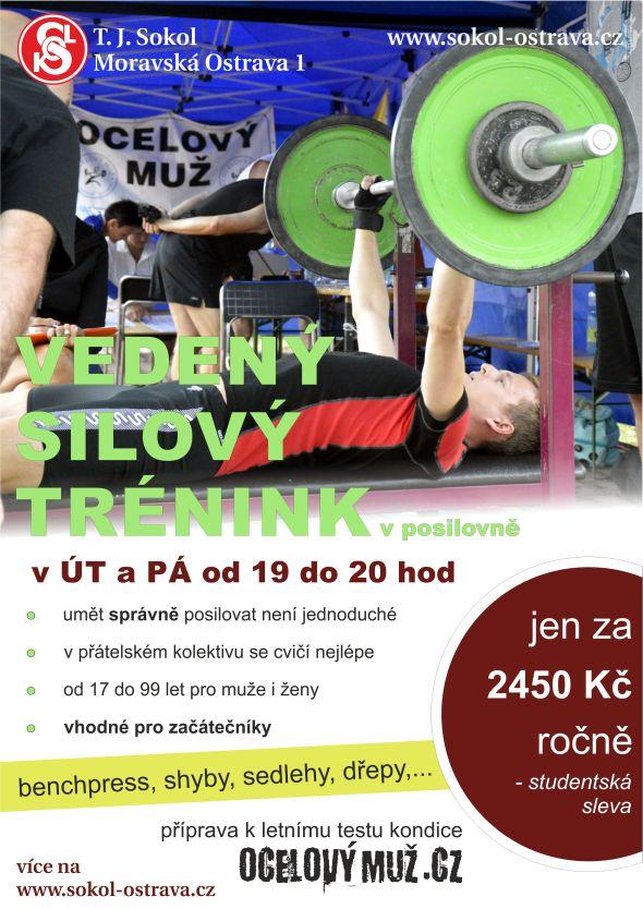 Vedený trénink v posilovně, Ostrava, s trenérem