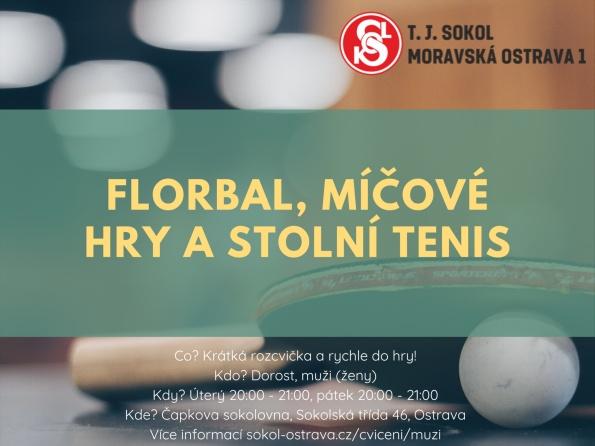 Florba, nohejbal, míčové hry a stolní tenis